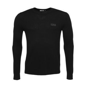 Zipped Knitted Crew Neck Sweater Black