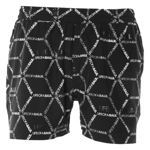 BALR. HEXAGON AOP SWIM SHORTS BLACK