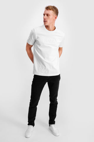 3D Embro Straight T-Shirt White