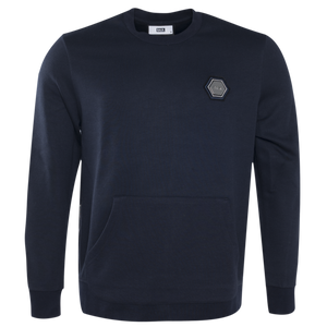 Q-Series Metal Hexagon Badge Crewneck Sweater Navy