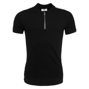 LOAB Webbing-Trimmed Polo Shirt Black