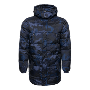 Gun Metal Badge Camo Down Coat Navy