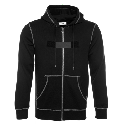 BALR. LABEL STRAIGHT ZIP THRU HOODIE BLACK