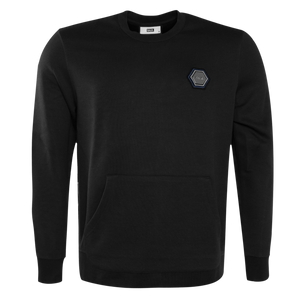 Q-Series Metal Hexagon Badge Crewneck Sweater Black