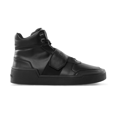 Leather Big Strap Sneakers High Black