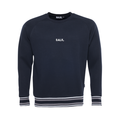 Q-Series Striped Crew Neck Sweater Navy