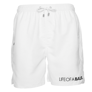 BALR. BIG LOGO SWIM SHORTS WHITE