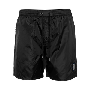 Metal Hexagon Badge Swim Shorts Black