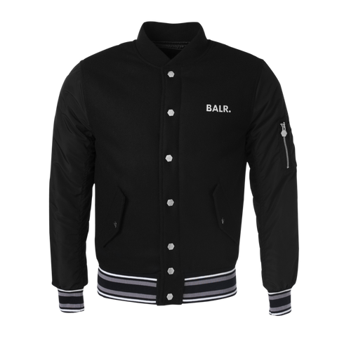 Striped Baseball Jacket Black
