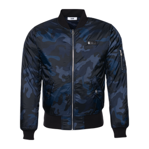 Gun Metal Badge Camo Bomber Jacket Navy