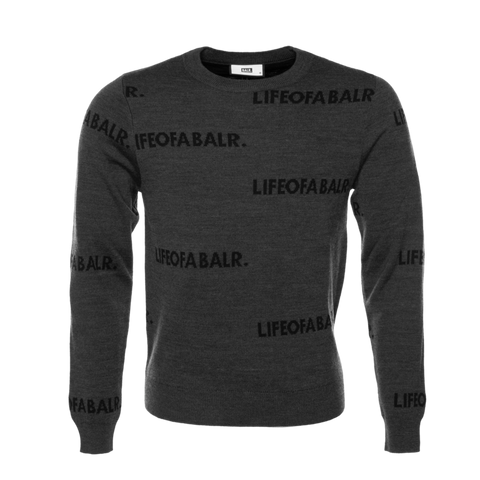 All-Over LIFEOFABALR. Crew Neck Sweater Grey