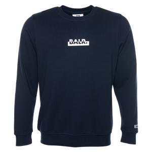 CONTRASTING LOGO STRAIGHT CREW NECK SWEATER NAVY