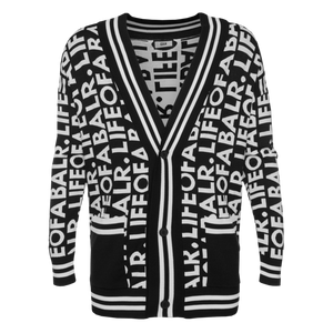LOAB GRAPHIC STRAIGHT CARDIGAN BLACK