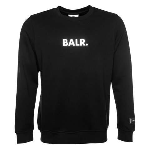 BALR. EMBOSSED STRAIGHT CREW NECK SWEATER BLACK