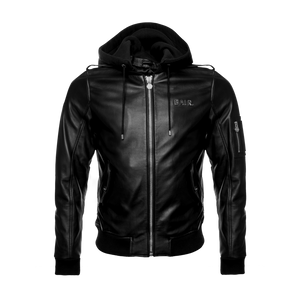 Hooded Leather Bomber Jacket