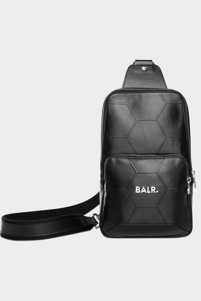 BALR. Hexagon AOP Embossed Leather Cross Body Bag Black