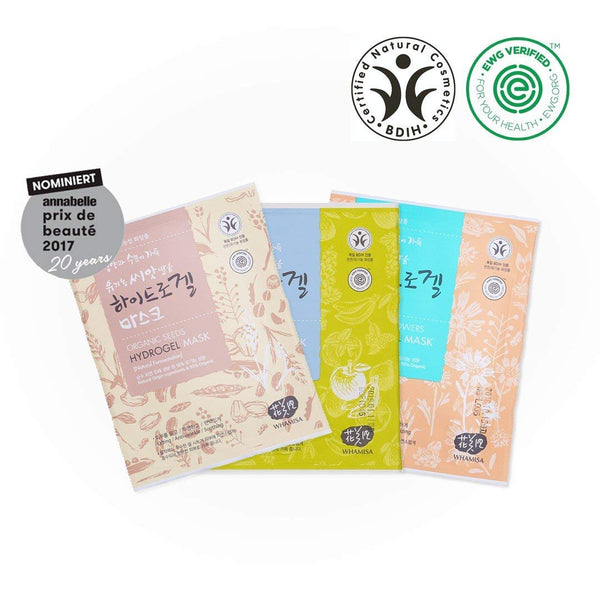 Organic Facial Mask - Flowers & Aloe Vera + Fruits & Tomato + Seeds & Rice 33g x3