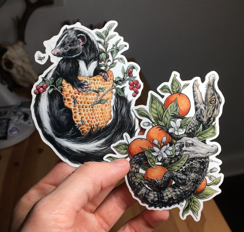Gator and Skunk Stickers