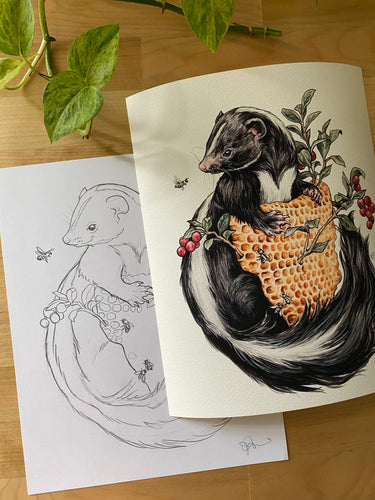 Skunk original sketch and print