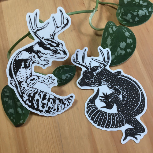 Geckos with antlers pair Stickers