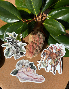 Deer, albino + penguin sticker set