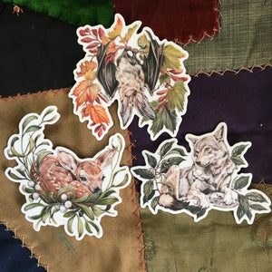 Wolf, bat and fawn sticker set