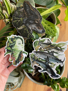 Coyote, plant goddess & sharks sticker set