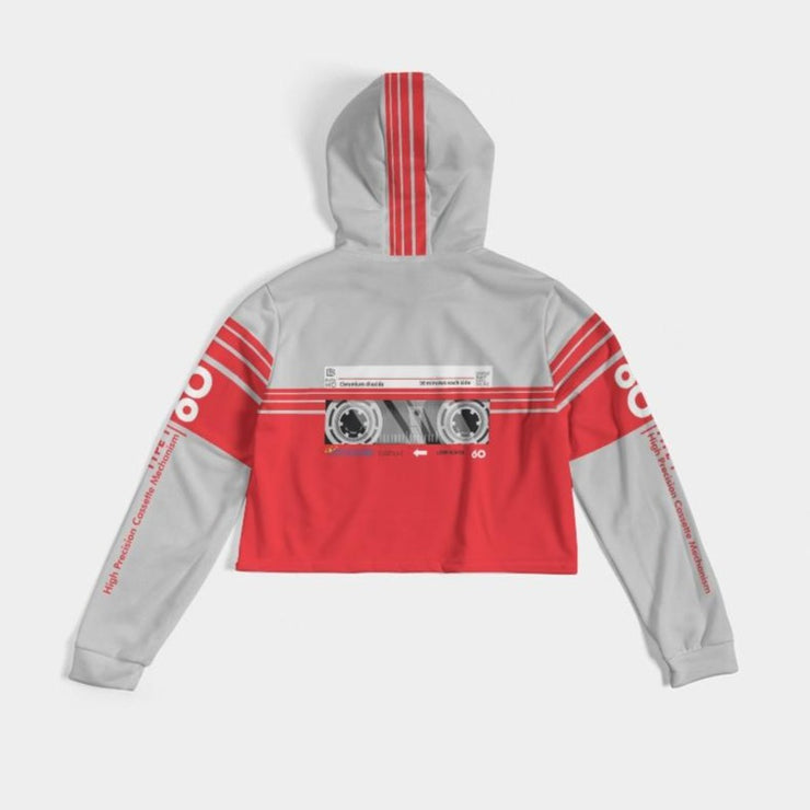 Ladies Cassette Throwback Cropped Hoodie