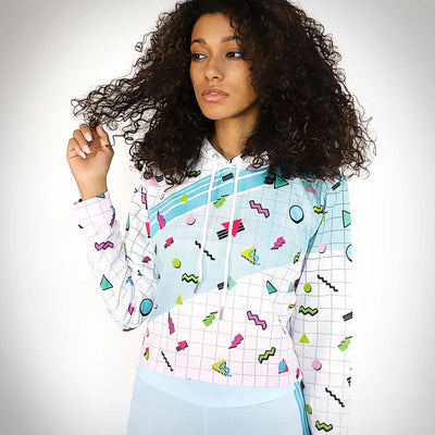 Ladies 90's pattern grid Cropped Hoodie