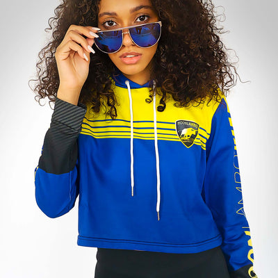 Ladies GT blue Monterey Cropped Hoodie