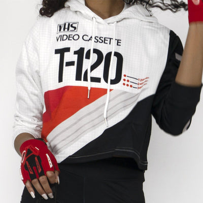 VHS Throwback Long Sleeve SS Women's Cropped Hoodie