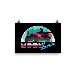 MoonLambo retrowave throwback print