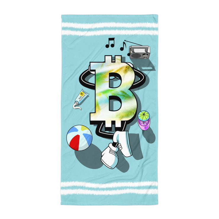 Bitcoin on holiday Beach Towel