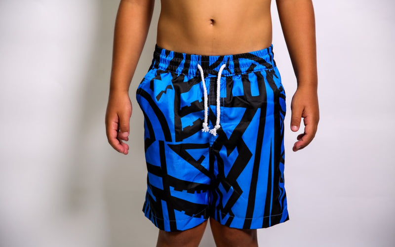 BOYS BLUE ELEI PRINT BOARD SHORTS