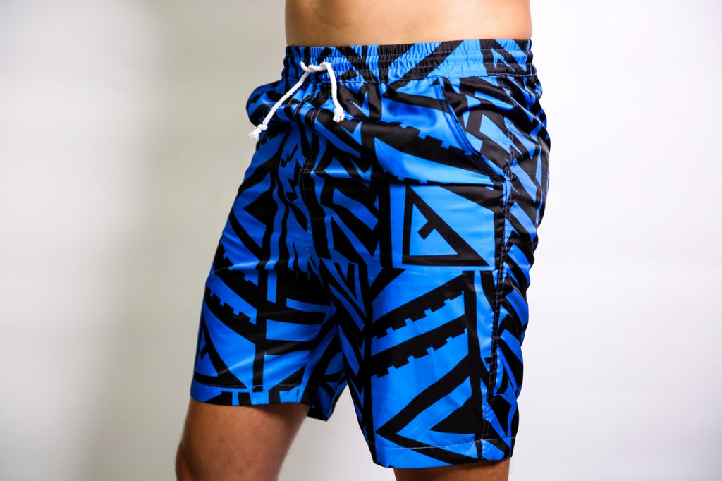 MENS BLUE ELEI PRINT BOARD SHORTS