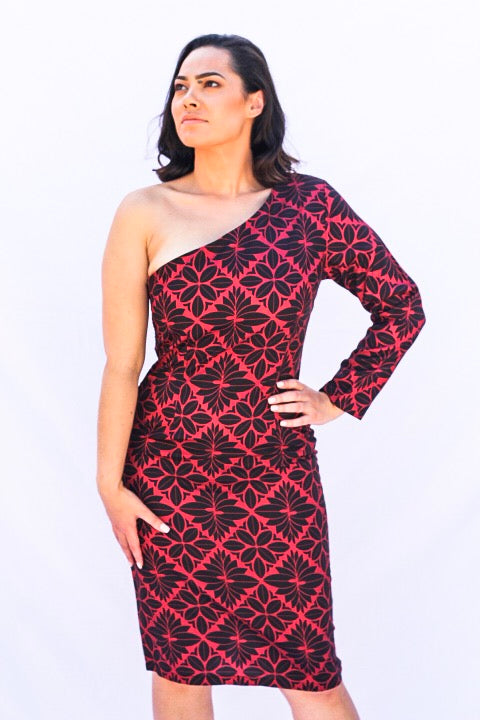 EC ONE SHOULDER DRESS RED