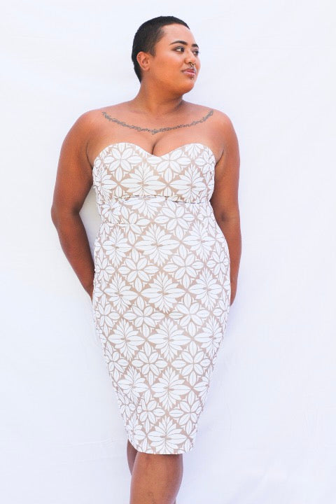 EC STRAPLESS DRESS WHITE