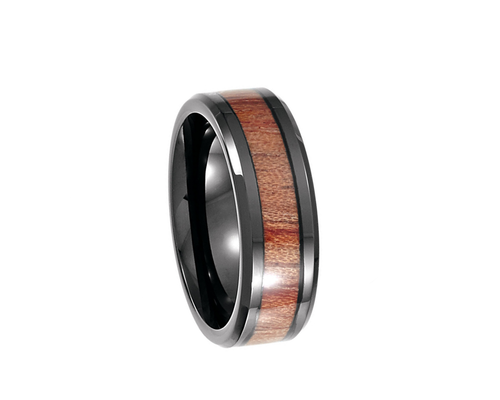 Black Cobalt Ring with Rosewood Inlay