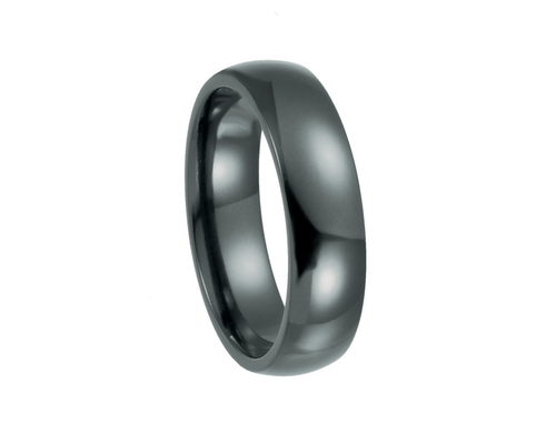 Black Titanium Domed Polished Band, 6mm Width
