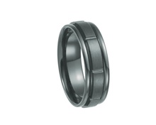 Load image into Gallery viewer, Black Titanium Satin and Polished  Grooved Band, 7mm Width