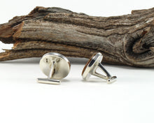 Load image into Gallery viewer, 925 Sterling Silver Cuff Links with Jack Daniel's Whiskey Barrel Wood Inlay