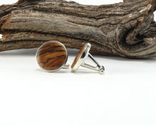Load image into Gallery viewer, 925 Sterling Silver Cuff Links with Bethlehem Olive Wood Inlay