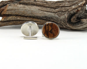 925 Sterling Silver Cuff Links with Bethlehem Olive Wood Inlay
