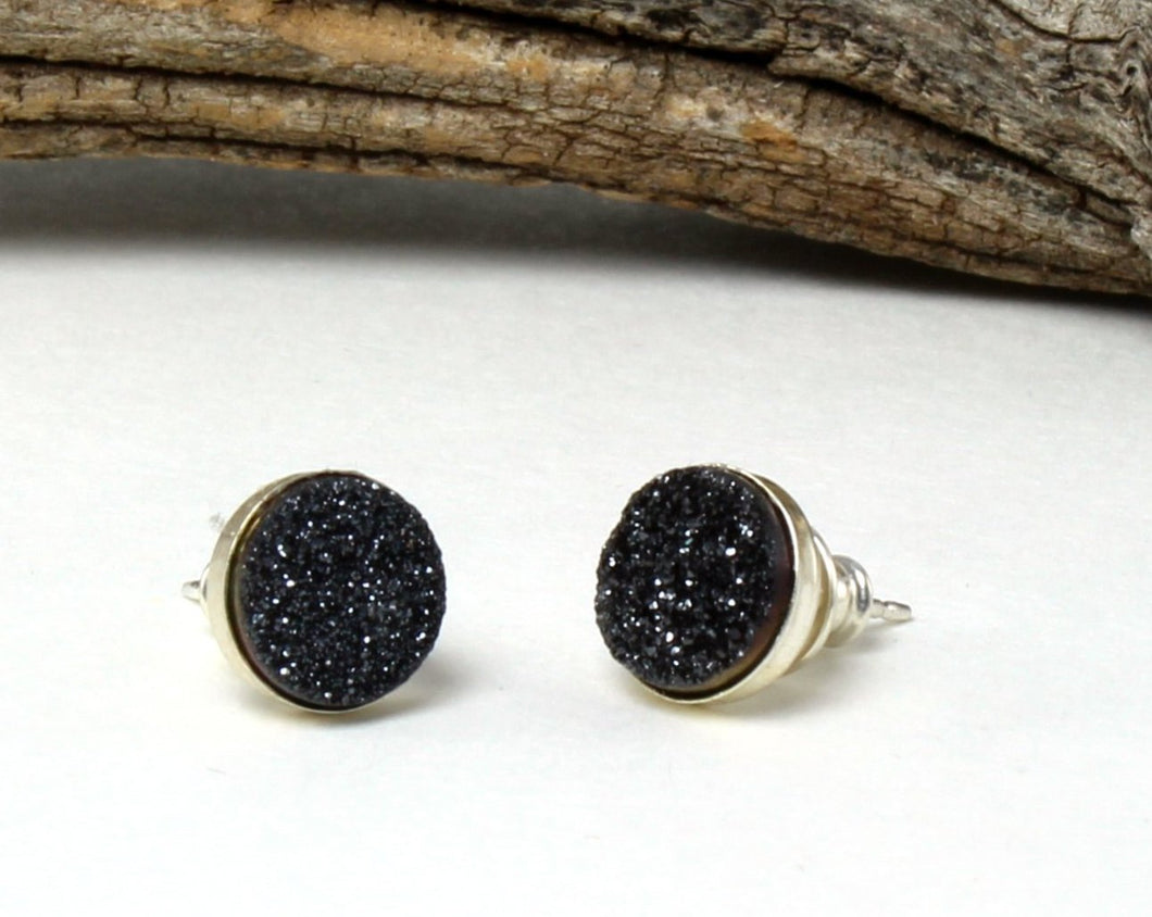 Black Druzy Stud Earrings in .925 Sterling Silver