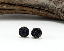 Load image into Gallery viewer, Black Druzy Stud Earrings in .925 Sterling Silver