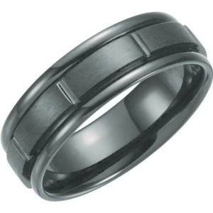 Black Titanium Satin and Polished  Grooved Band, 7mm Width