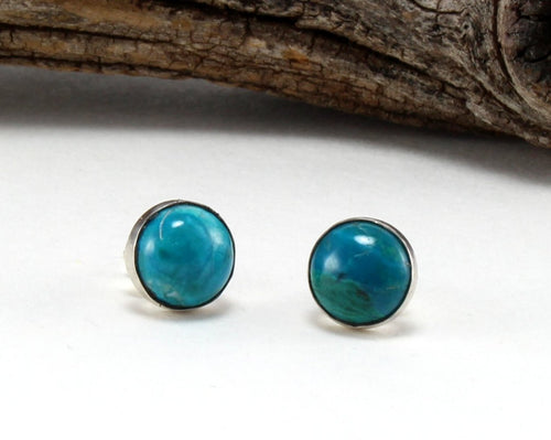 Chrysocolla Stud Earrings in .925 Sterling Silver
