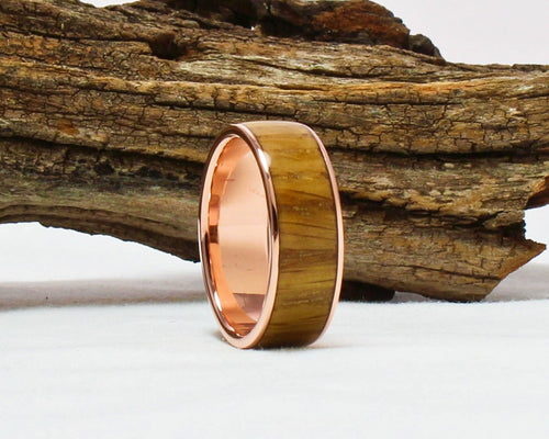 Copper Ring with Whiskey Barrel Wood Inlay