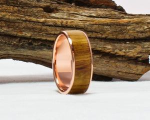 Copper Ring with Jack Daniel's Whiskey Barrel Wood Inlay