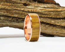 Load image into Gallery viewer, Copper Ring with Jack Daniel's Whiskey Barrel Wood Inlay
